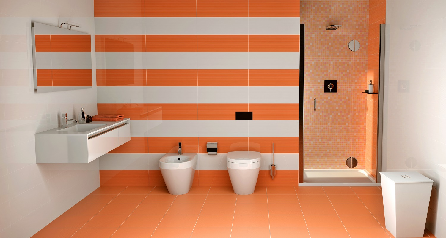 Carrelage salle de bain orange for Carrelage jaune salle de bain