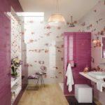 Carrelage salle de bain rose