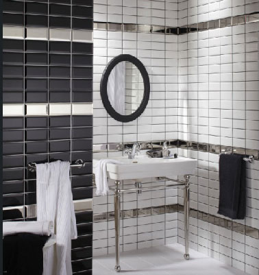 faience salle de bain noir et blanc. Black Bedroom Furniture Sets. Home Design Ideas