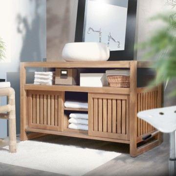 meuble salle bain bois exotique