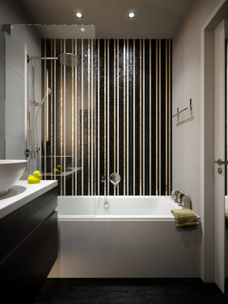 petite salle de bain avec douche et baignoire