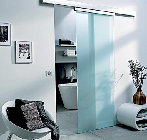 Porte coulissante en verre pour salle de bain for Porte coulissante encastrable salle de bain