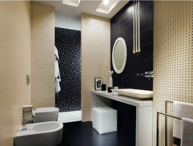 salle de bain beige et noir