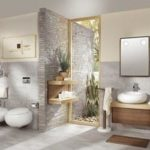 Salle de bain bois et gris
