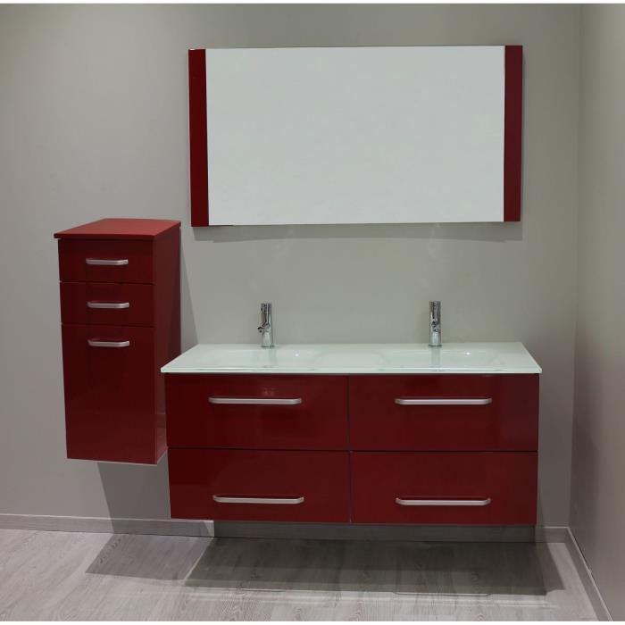 salle de bain meuble rouge