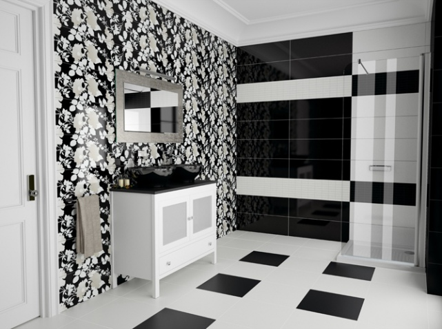 Salle de bain noir et blanc for Salle de bain noir et rouge