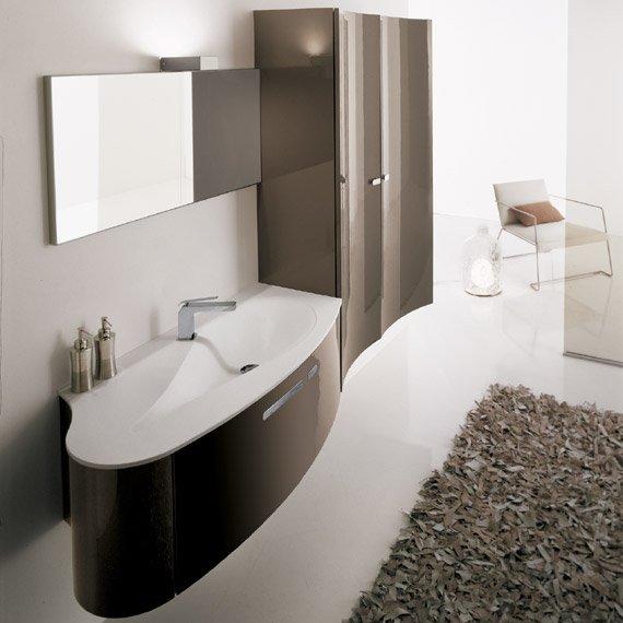 salle de bain taupe et blanc