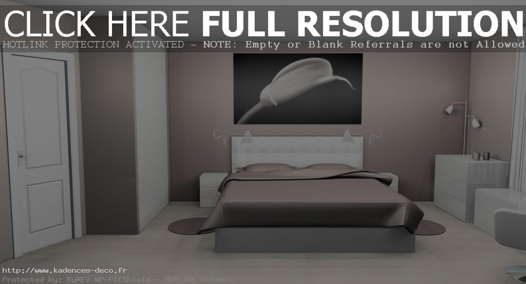 chambre taupe et blanc