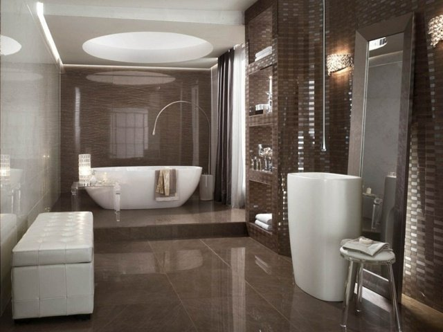 deco salle de bain marron. Black Bedroom Furniture Sets. Home Design Ideas