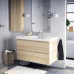 Meuble salle de bain blanc laqué ikea