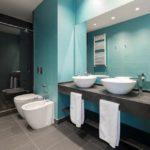 Salle de bain gris et bleu turquoise